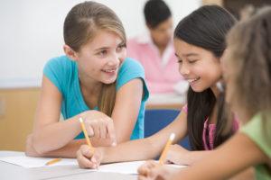 Elementary school pupils in classroom